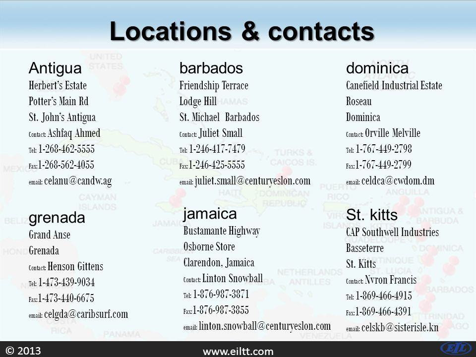 © Locations & contacts Antigua Herbert's Estate Potter's Main Rd St.