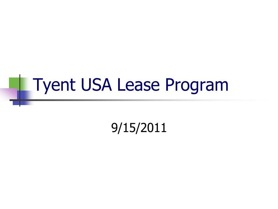 Tyent USA Lease Program 9/15/2011