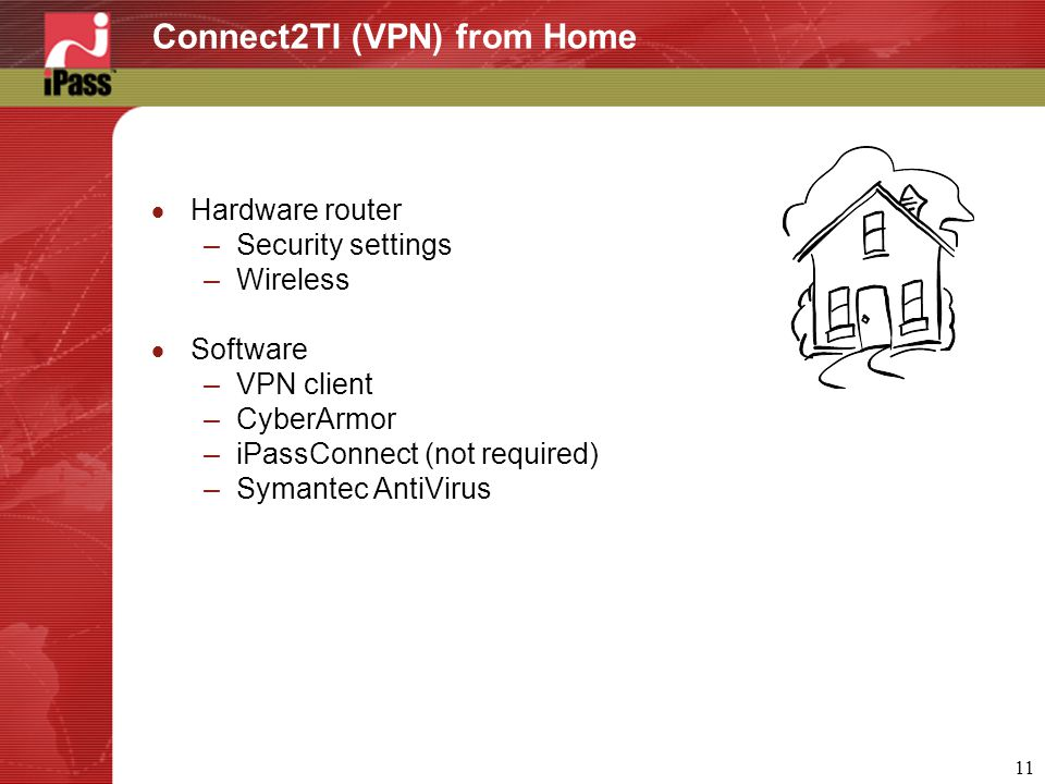 11 Connect2TI (VPN) from Home  Hardware router –Security settings –Wireless  Software –VPN client –CyberArmor –iPassConnect (not required) –Symantec AntiVirus