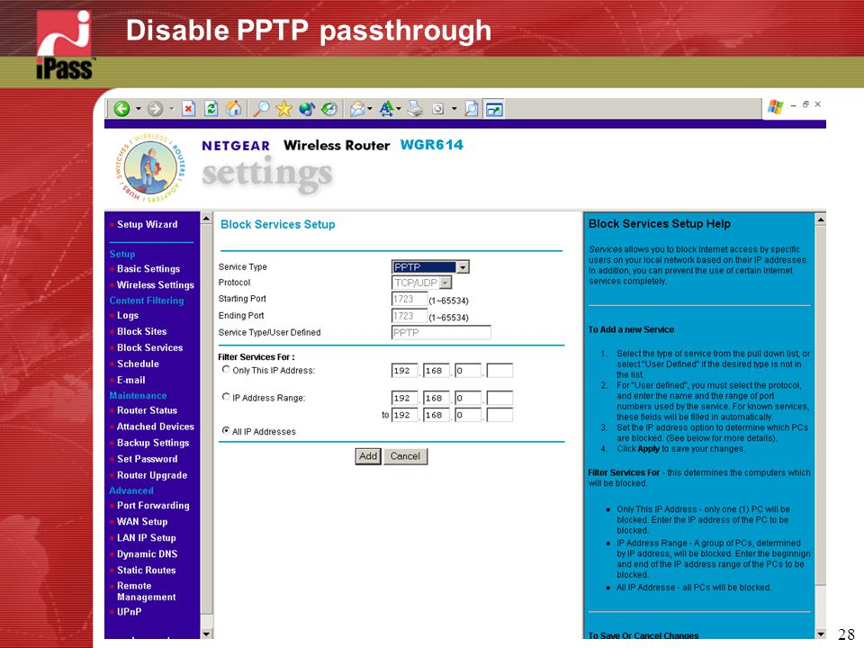 28 Disable PPTP passthrough