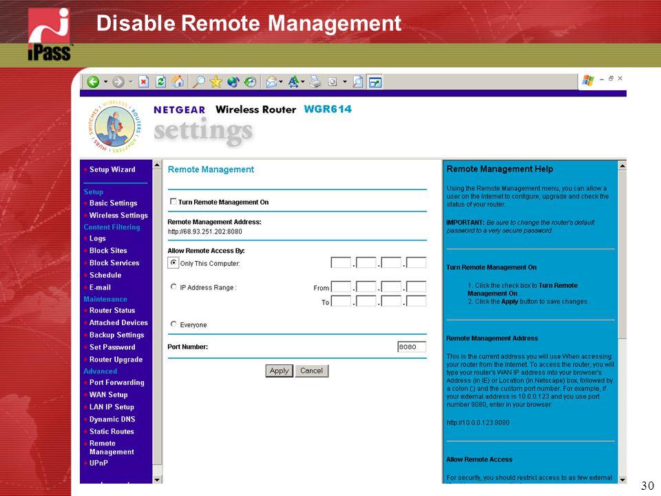 30 Disable Remote Management