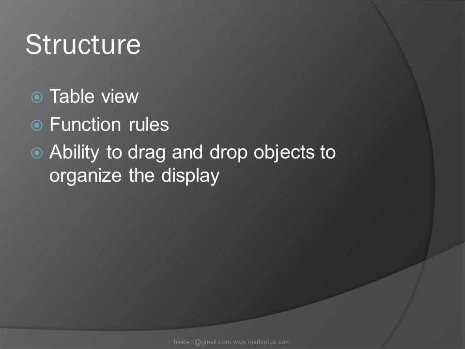 Structure  Table view  Function rules  Ability to drag and drop objects to organize the display hastern@gmail.com www.mathmtcs.com