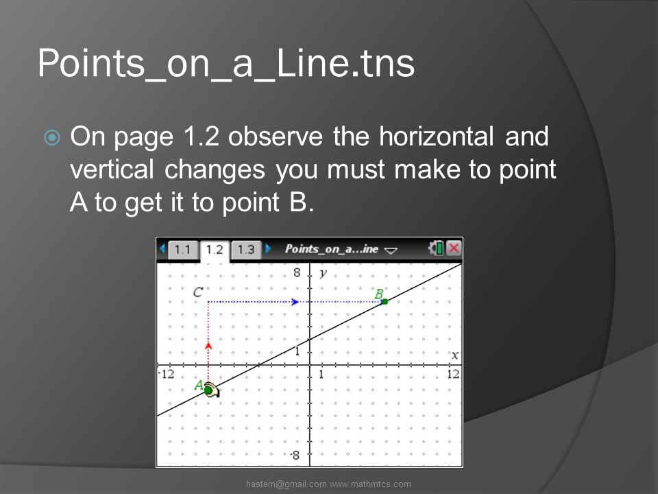 Points_on_a_Line.tns  On page 1.2 observe the horizontal and vertical changes you must make to point A to get it to point B.