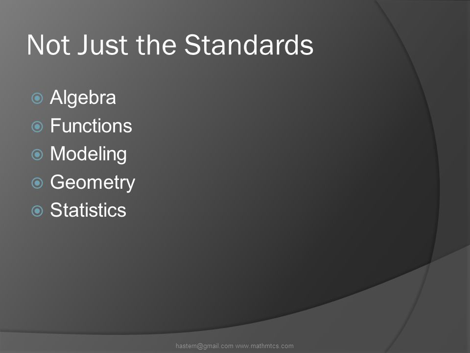 Not Just the Standards  Algebra  Functions  Modeling  Geometry  Statistics hastern@gmail.com www.mathmtcs.com