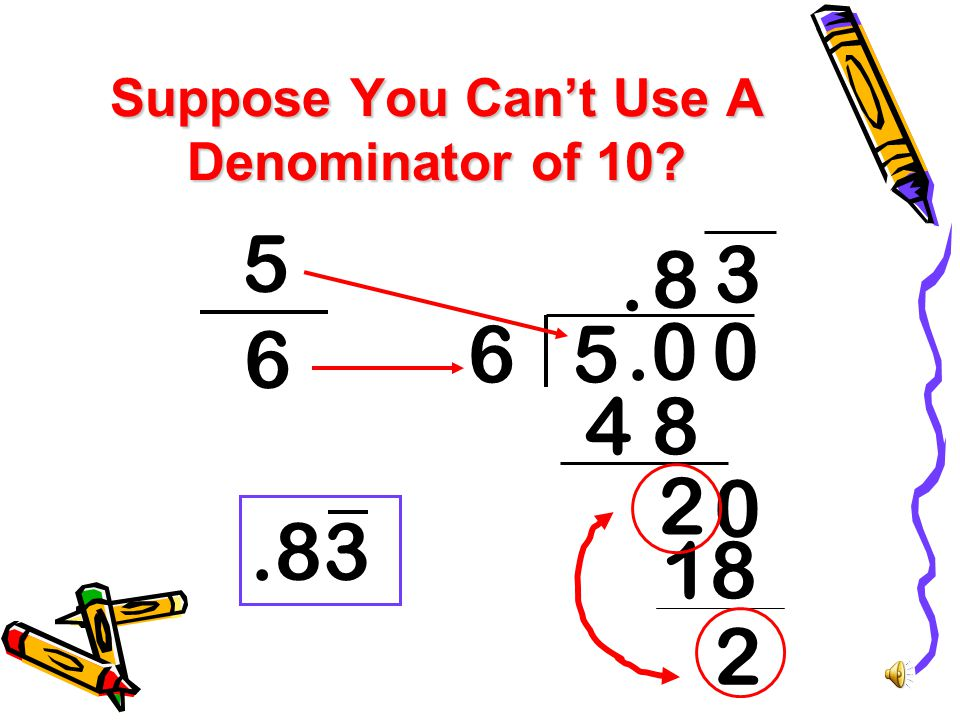 Suppose You Can't Use A Denominator of 10? 6 5 Divide theNumerator by theDenominator