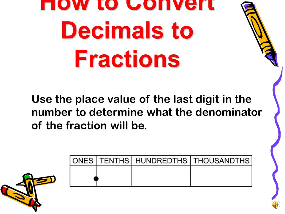 What are we learning? In this lesson you will learn how to convert decimals to fractions and fractions to decimals