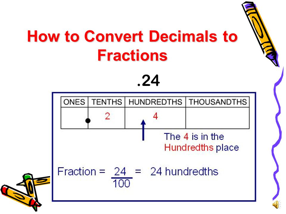 How to Convert Decimals to Fractions Use the place value of the last digit in the number to determine what the denominator of the fraction will be.