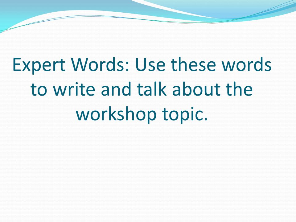 Expert Words: Use these words to write and talk about the workshop topic.