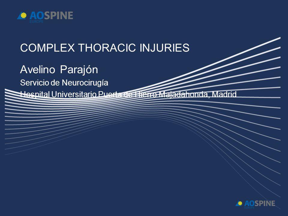 COMPLEX THORACIC INJURIES Avelino Parajón Servicio de Neurocirugía Hospital Universitario Puerta de Hierro Majadahonda, Madrid