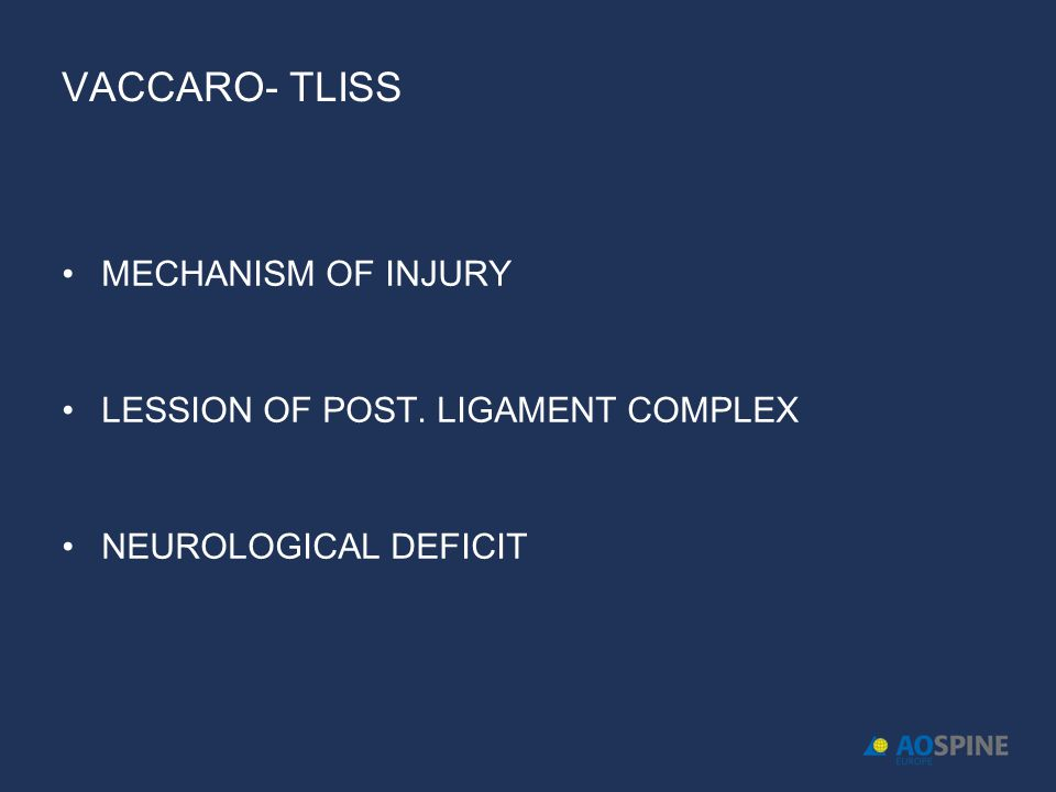 VACCARO- TLISS MECHANISM OF INJURY LESSION OF POST. LIGAMENT COMPLEX NEUROLOGICAL DEFICIT