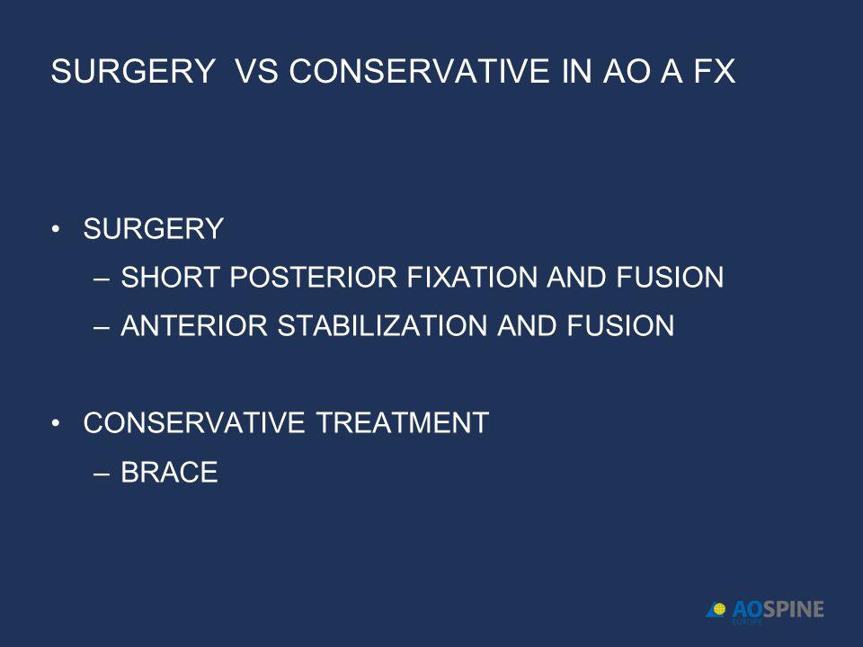 SURGERY VS CONSERVATIVE IN AO A FX SURGERY –SHORT POSTERIOR FIXATION AND FUSION –ANTERIOR STABILIZATION AND FUSION CONSERVATIVE TREATMENT –BRACE
