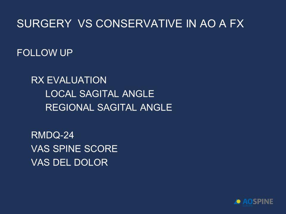 SURGERY VS CONSERVATIVE IN AO A FX FOLLOW UP RX EVALUATION LOCAL SAGITAL ANGLE REGIONAL SAGITAL ANGLE RMDQ-24 VAS SPINE SCORE VAS DEL DOLOR