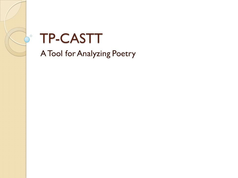 TP-CASTT A Tool for Analyzing Poetry