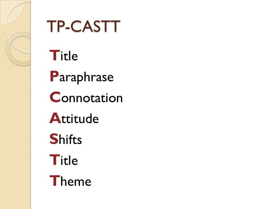 TP-CASTT T itle P araphrase C onnotation A ttitude S hifts T itle T heme