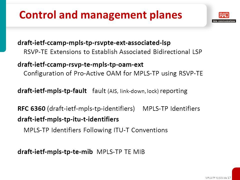 MPLS-TP Y(J)S Slide 17 Control and management planes draft-ietf-ccamp-mpls-tp-rsvpte-ext-associated-lsp RSVP-TE Extensions to Establish Associated Bid