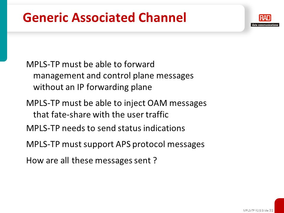 MPLS-TP Y(J)S Slide 31 Generic Associated Channel MPLS-TP must be able to forward management and control plane messages without an IP forwarding plane