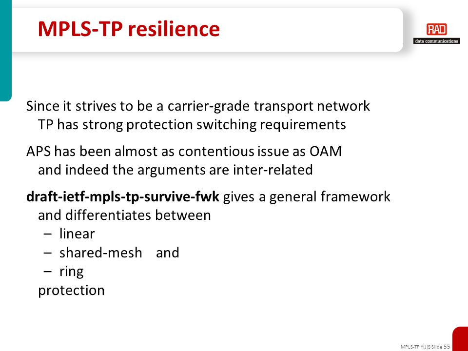 MPLS-TP Y(J)S Slide 55 MPLS-TP resilience Since it strives to be a carrier-grade transport network TP has strong protection switching requirements APS