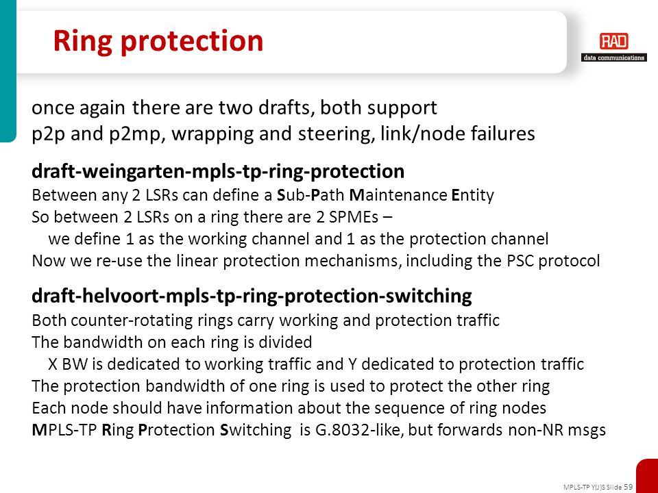 MPLS-TP Y(J)S Slide 59 Ring protection once again there are two drafts, both support p2p and p2mp, wrapping and steering, link/node failures draft-wei