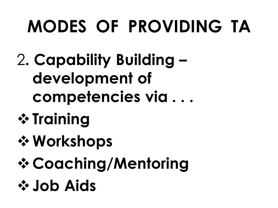 2. Capability Building – development of competencies via...  Training  Workshops  Coaching/Mentoring  Job Aids MODES OF PROVIDING TA