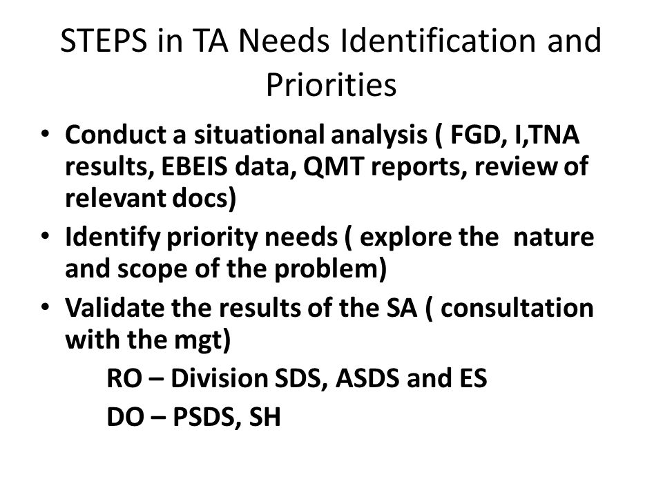STEPS in TA Needs Identification and Priorities Conduct a situational analysis ( FGD, I,TNA results, EBEIS data, QMT reports, review of relevant docs) Identify priority needs ( explore the nature and scope of the problem) Validate the results of the SA ( consultation with the mgt) RO – Division SDS, ASDS and ES DO – PSDS, SH