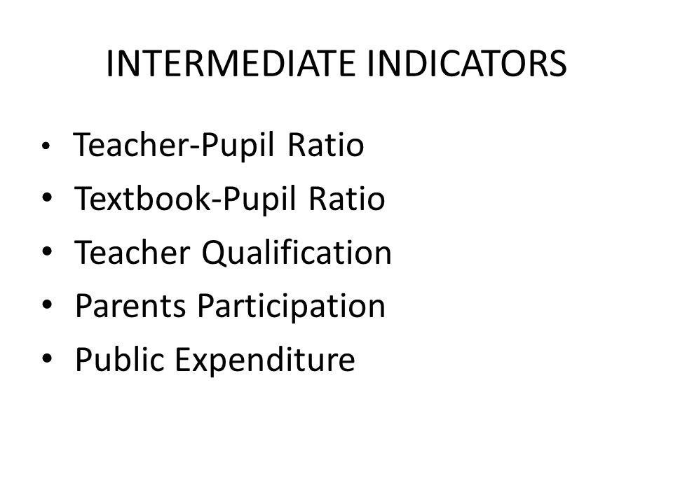 INTERMEDIATE INDICATORS Teacher-Pupil Ratio Textbook-Pupil Ratio Teacher Qualification Parents Participation Public Expenditure