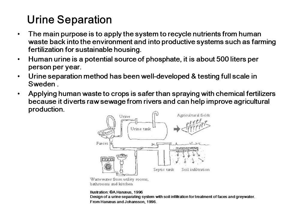 Urine Separation The main purpose is to apply the system to recycle nutrients from human waste back into the environment and into productive systems such as farming fertilization for sustainable housing.