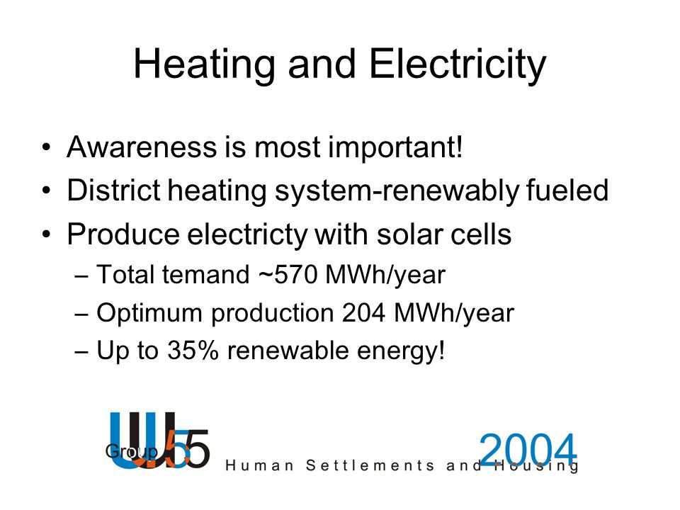 Heating and Electricity Awareness is most important! District heating system-renewably fueled Produce electricty with solar cells –Total temand ~570 M