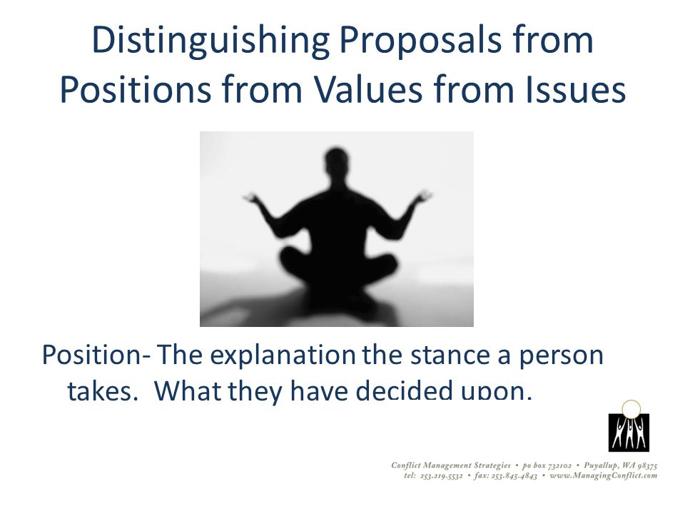 Distinguishing Proposals from Positions from Values from Issues Position- The explanation the stance a person takes.
