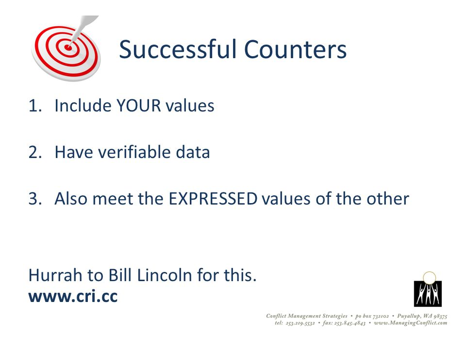 Successful Counters 1.Include YOUR values 2.Have verifiable data 3.Also meet the EXPRESSED values of the other Hurrah to Bill Lincoln for this.
