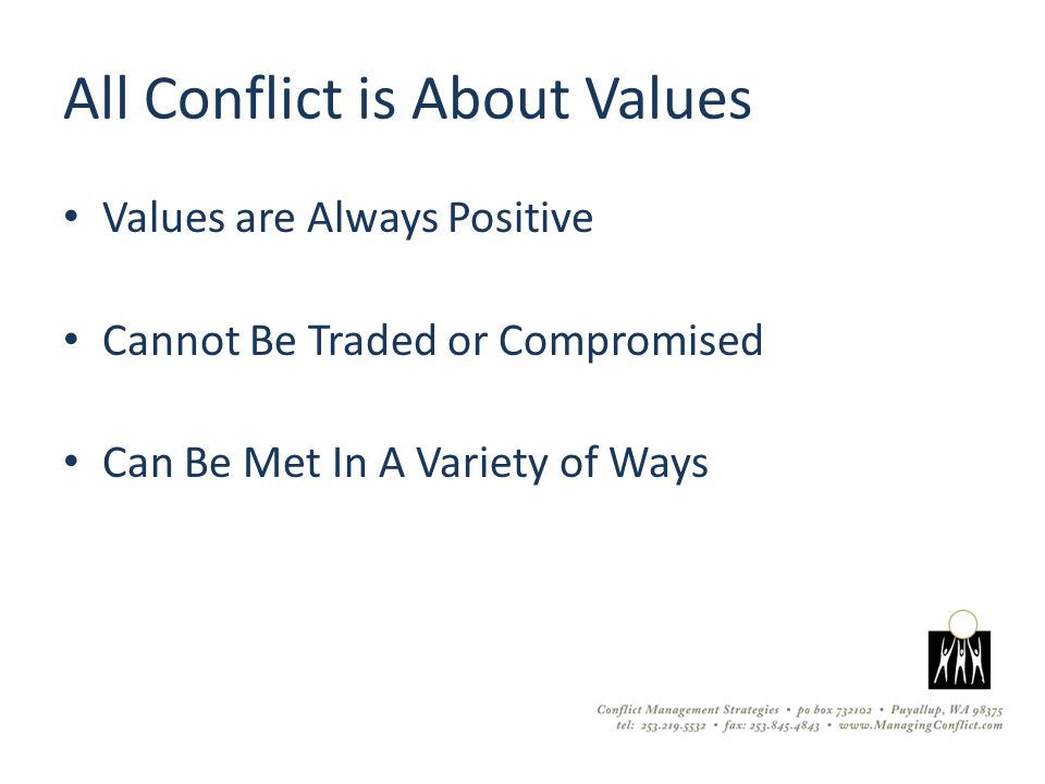 All Conflict is About Values Values are Always Positive Cannot Be Traded or Compromised Can Be Met In A Variety of Ways