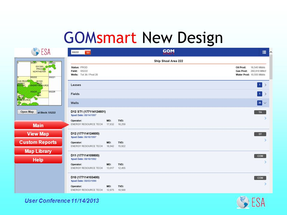 Main View Map Custom Reports Map Library GOMsmart New Design User Conference 11/14/2013 Help