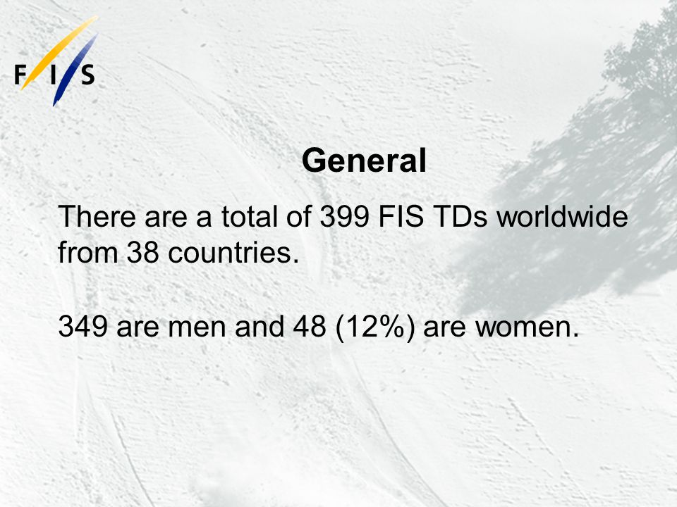 General There are a total of 399 FIS TDs worldwide from 38 countries.