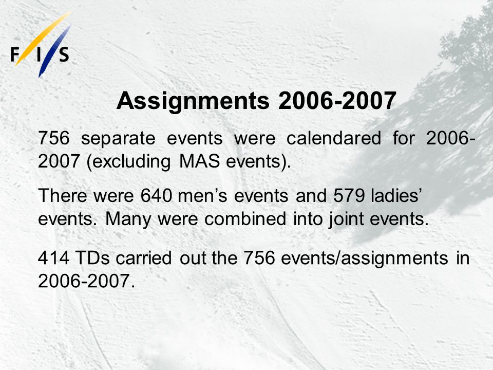 Assignments 2006-2007 756 separate events were calendared for 2006- 2007 (excluding MAS events).