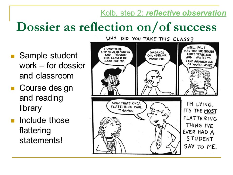 Dossier as reflection on/of success Sample student work – for dossier and classroom Course design and reading library Include those flattering stateme