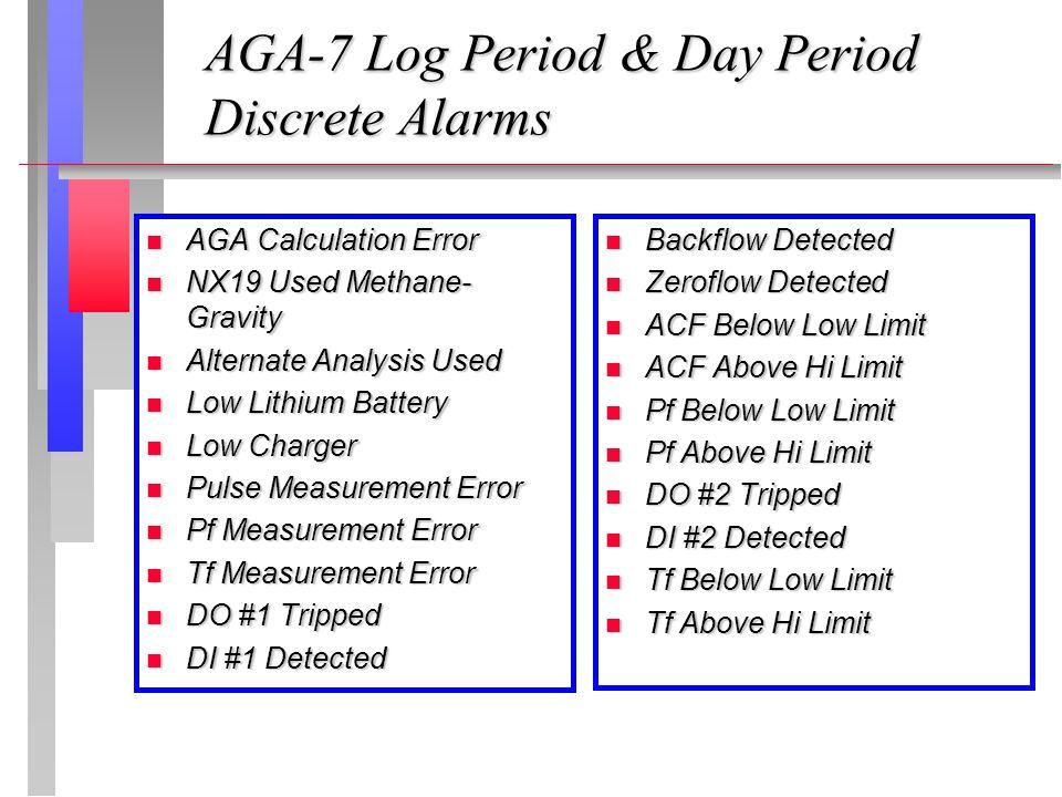 AGA-7 Log Period & Day Period Discrete Alarms AGA Calculation Error AGA Calculation Error NX19 Used Methane- Gravity NX19 Used Methane- Gravity Altern