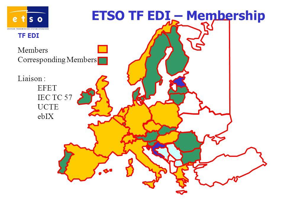 TF EDI Members Corresponding Members Liaison : EFET IEC TC 57 UCTE ebIX ETSO TF EDI – Membership