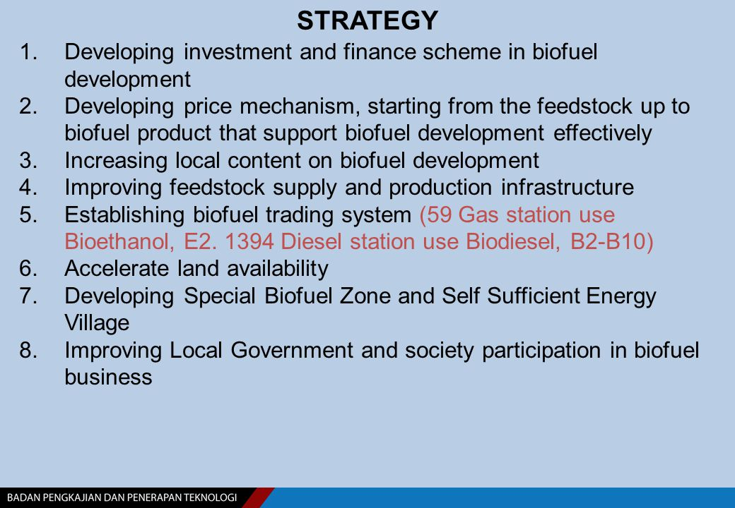 STRATEGY 1.Developing investment and finance scheme in biofuel development 2.Developing price mechanism, starting from the feedstock up to biofuel pro