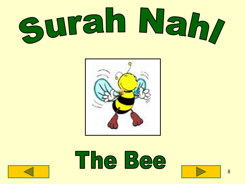7 I am yellow and black I live in a hive I make honey What surah am I?