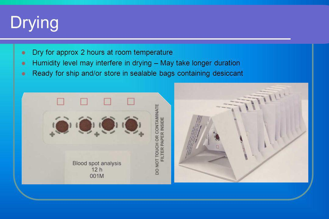 If Shipping Required Samples classified as non-hazardous for shipping The dried filter papers can be shipped at ambient conditions with a simple envelope and in a plastic pouch and preferably with some desiccant material.