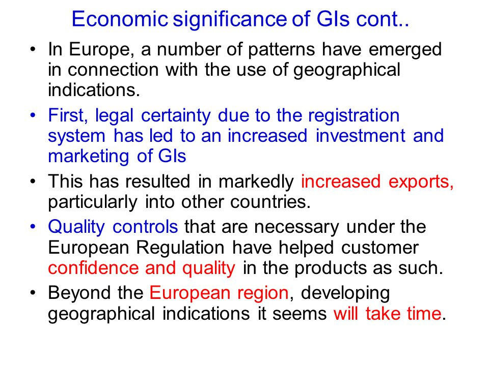 Economic significance of GIs cont..