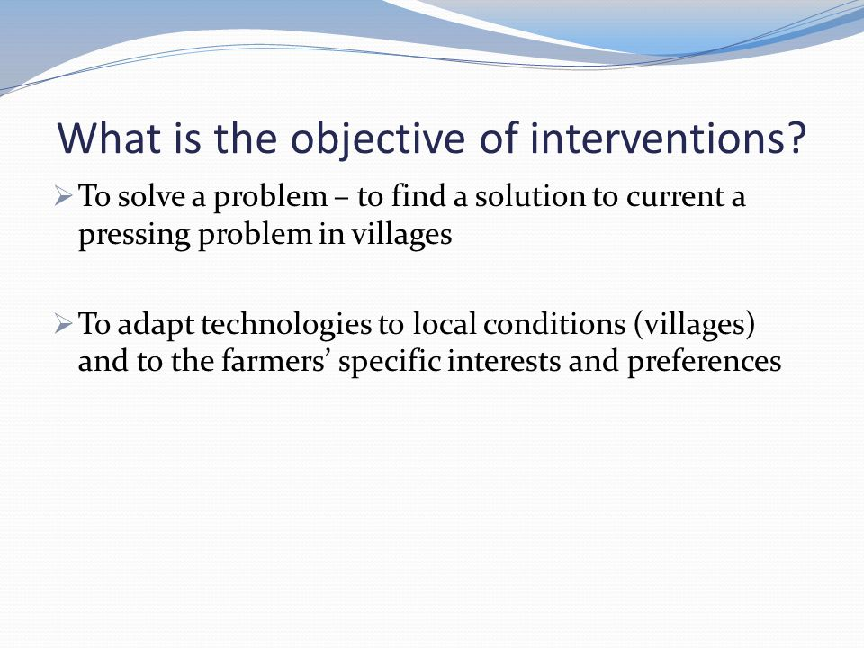 Some issues to consider for the strategy outline  Targeting interventions using TechFit tool Need information for the TechFit tool - Context scores for all villages Scores on severity of feed ( Is feed an issue?) in all villages Need to select interventions to test per village (1 or 2 ?) What type of intervention may be needed.