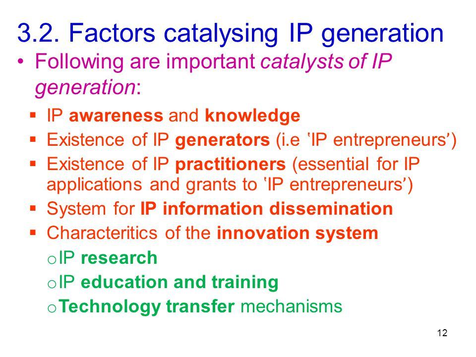 3.2. Factors catalysing IP generation  IP awareness and knowledge  Existence of IP generators (i.e 'IP entrepreneurs ' )  Existence of IP practitio