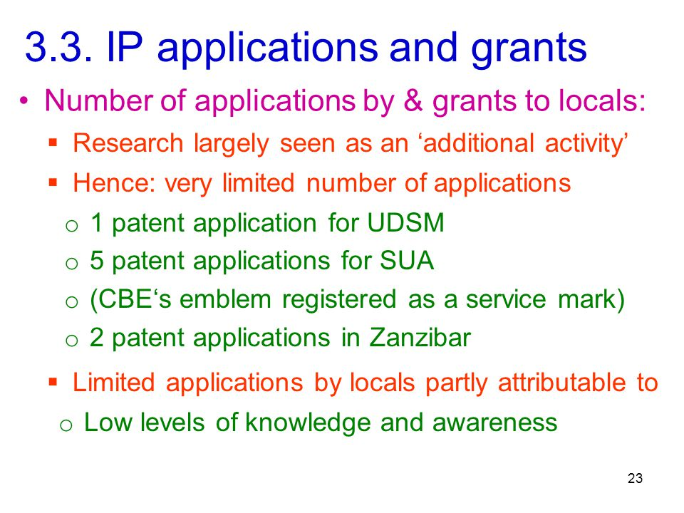 3.3. IP applications and grants  Hence: very limited number of applications 23 Number of applications by & grants to locals: o 1 patent application f