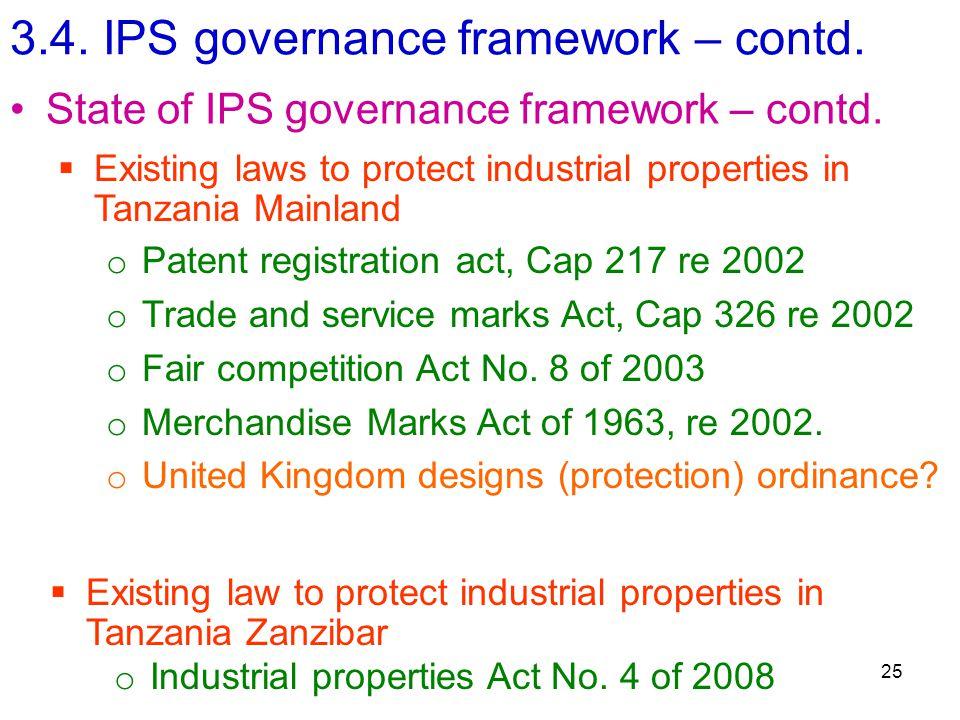 3.4. IPS governance framework – contd. 25 State of IPS governance framework – contd.