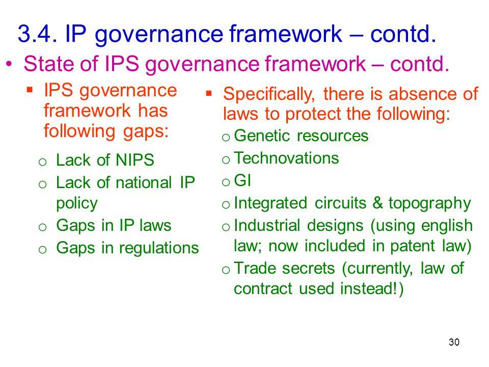 3.4. IP governance framework – contd. 30 State of IPS governance framework – contd.