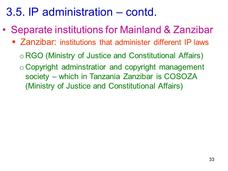 3.5. IP administration – contd.