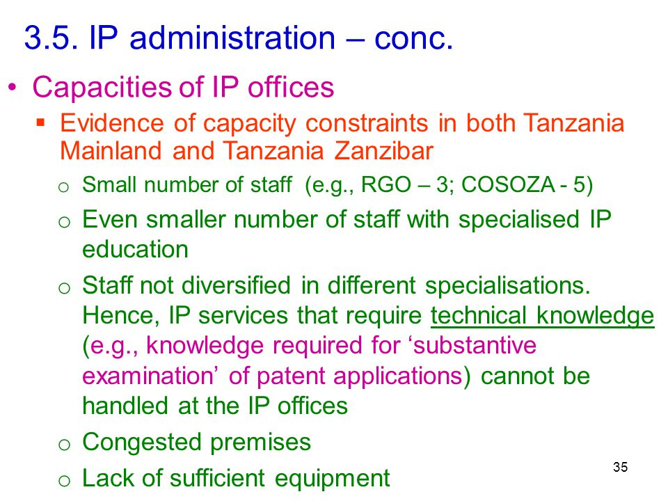 3.5. IP administration – conc.