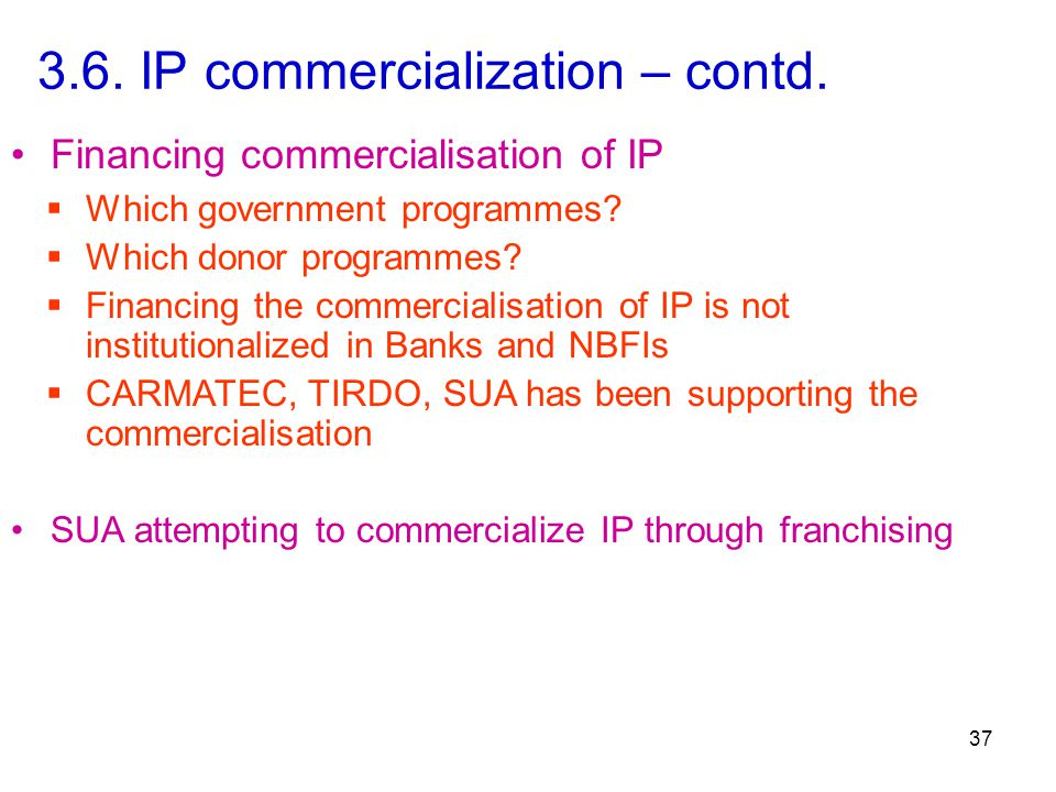 3.6. IP commercialization – contd.