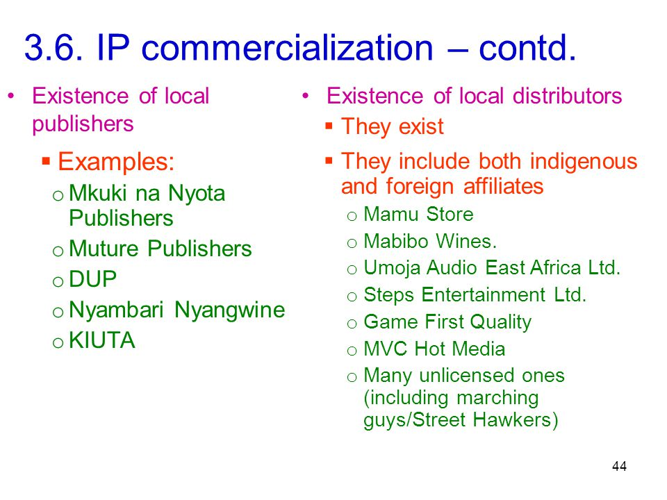 44 3.6. IP commercialization – contd.