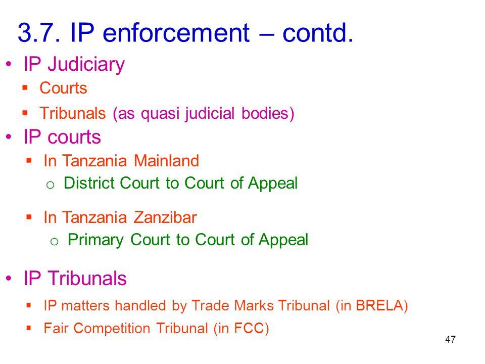 47 3.7. IP enforcement – contd.